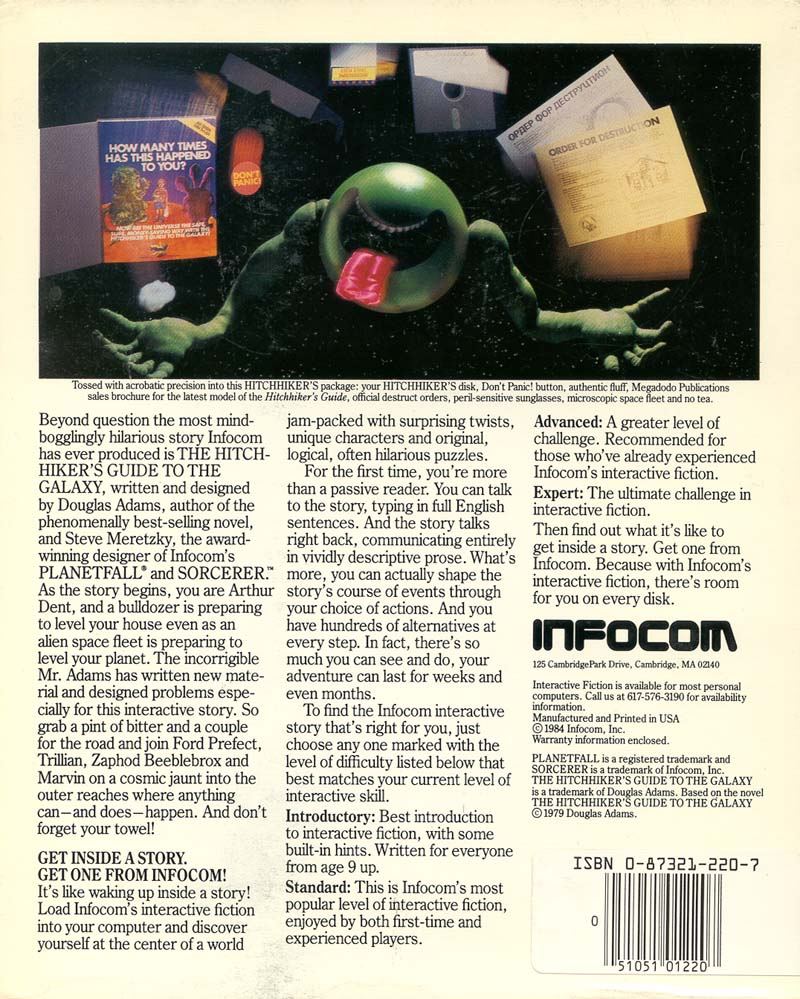 The Infocom Gallery The Hitchhiker S Guide To The Galaxy